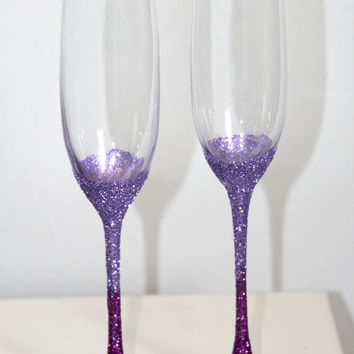 Glitter Toasting Flutes, Sparkling Ombre Glass, Wedding Champagne Flutes, Bachelorette Party Gags, Bridal Party Gifts, Mr & Mrs Glasses