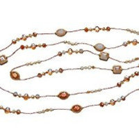 "Necklace Handcrafted Silver Glass and Crystal Beads 80"" Long Blush Pink"