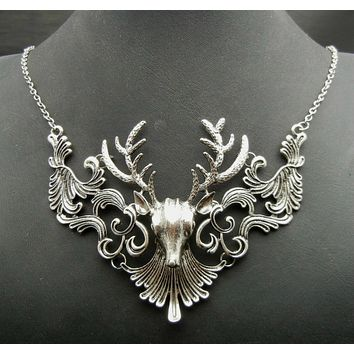 Silver Deer Antler Pendant Necklace
