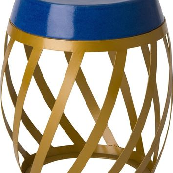 Lexa Metal Stool/Table Powedercoated Gold With A Royal Blue Ceramic Top