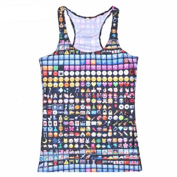 Emoji Printed Colorful Tank Top For Women - All Over Print