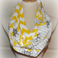 Yellow and Gray Nautical Anchors Scarf Buttercup Yellow Chevron Infinity Scarf Cruise Ship Beach Women's Accessories