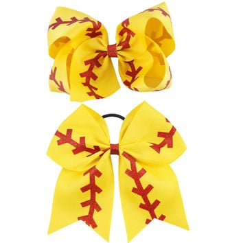 "1 Set(2pcs) 7""Print Children Softball Cheer Bow with Elastic Ribbon Hair Bow with Clip"
