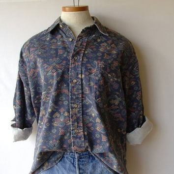 90s Denim Shirt/ Regular Fit Button-up/ Shadow Blue Tribal/ Fits Medium - Large/ Cowboy Rodeo/ For Men & Women/ Mild Distress Look