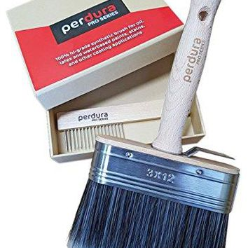 Perdura Pro Series Professional Paint Brush - Deck Stain Brush Applicator wide 5 inch - Seal Finish and Coat Fast - Quality Synthetic Filament - Water and Oil based Coatings for Wood and Concrete