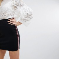 New Look Stripe Side Bodycon Skirt at asos.com