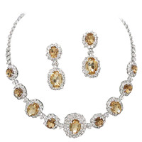 Light Gold Champagne Regal Statement Bridal Bridesmaid Necklace Earring Set Silver Tone