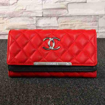 CHANEL Women Fashion Casual Leather Buckle Wallet Purse G