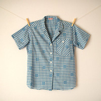 Vintage. 50's Checkered Button Up Shirt. Top. Blue and White. Embroidered. Collar. Short Sleeves. Gingham. Tailored. Retro. Classic. Medium