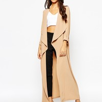 Never Fully Dressed Waterall Crepe Maxi Duster Coat