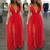 Summer Deep V Spaghetti Strap Dress Bohemia Prom Dress Maxi Dress [8096801287]