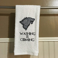"Game of Thrones inspired decorative embroidered hand towel ""Washing is Coming"""