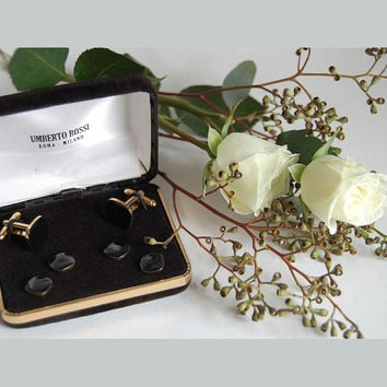 Umberto Bossi Black Enamel Tuxedo Shirt Studs & Cufflinks Set Vintage Italian Accessories Minimalist Black Gold Formal Wear Gift for Him