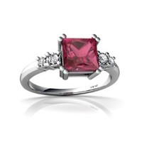 14kt White Gold Pink Tourmaline and Diamond 6mm Square Art Deco Ring - Size 9