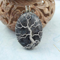 Larvikite Tree of Life silver-plated wire-wrapped pendant