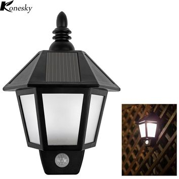 Konesky Waterproof Solar Light Motion Activated Hexagonal LED Light Wall Lamp Night Light Automatically ON at Night for Garden