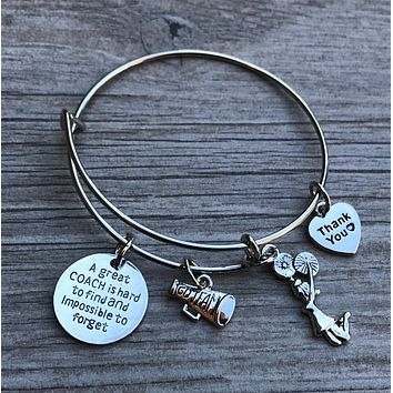 Great Cheer Coach is Hard to Find Charm Bangle Bracelet