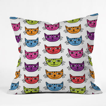 Andi Bird Cat Love Outdoor Throw Pillow