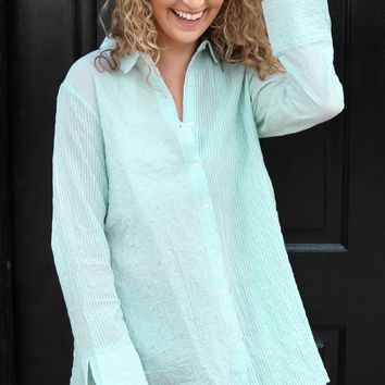 Wedge Back Shirt - Aqua Stripe by Habitat Clothes to Live in