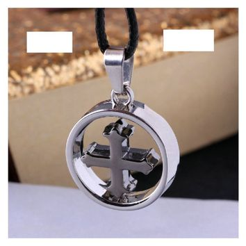 Braveman Jewelry Circle Cross Necklace for Men