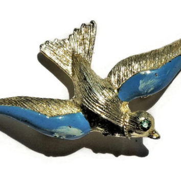 Bird Brooch, Rhinestone Eye,Gold tone Blue Enamel Bird Pin, Vintage Brooch, Vintage Jewelry