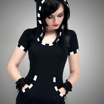 Black Cat Shirt Hoodie stripes ears Kitty kawaii