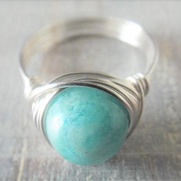 Silver Amazonite Ring - Wire Wrapped Ring - Blue Stone Ring - Aqua Stone Ring - Amazonite Jewelry - Ring for Girlfriend - Gift for Sister