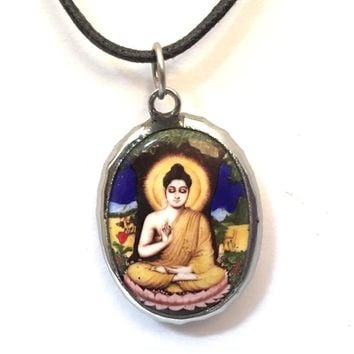 Buddha in Meditation Vippasana Ceramic Unisex Pendant Necklace