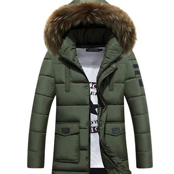Mens Military Style Winter Faux Fur Hooded Coat