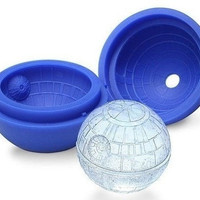 Silicone Blue Wars Death Star Round Ball Ice Mold Tray Desert Sphere Cocktail