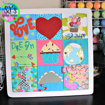Ten inch by ten inch nine piece square painting with removable tiles: Love, Heart, Fly away Up balloon, Dream with arrow, and so much more!
