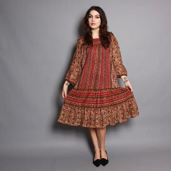 70s INDIAN COTTON DRESS / Ethnic Floral Tent Dress