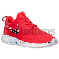 Free Shipping - Nike Roshe Run Red Marble American Flag Pride V3 Print Custom