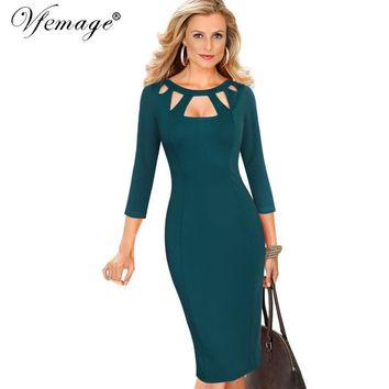 Vfemage Womens Autumn Elegant Sexy Cutout Slim Casual Work Office Business Party Club Pinup Fitted Bodycon Pencil Dress 7151