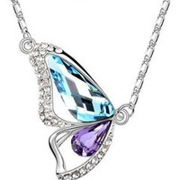 Butterfly Pendant Necklace in 14 color choices
