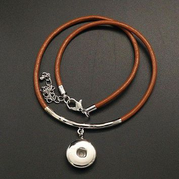 ONETOW New DJ0072 Beauty Fashion simple Leather snap necklace 40cm 2layers bracelet fit DIY 18MM snap buttons jewlery