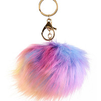 Rainbow Fur Pom Key Chain