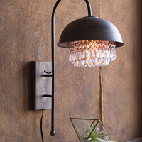 Metal Dome Wall Lamp with Gems Detail