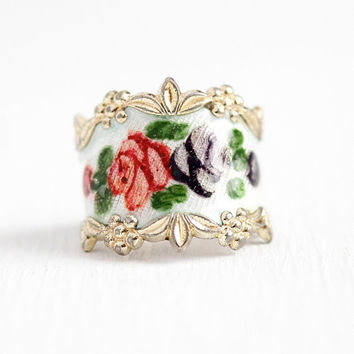 Enamel Flower Band - Vintage Gold Washed Sterling Silver White Guilloche Rose Cigar Ring - Retro Size 5 1/2 Vermeil Vargas Floral Jewelry