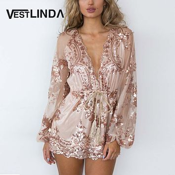 VESTLINDA Sexy Women Rompers Sexy Jumpsuit Floral Print Summer Playsuit Plunging Neck Sequin Sash Waist Party Romper for Women