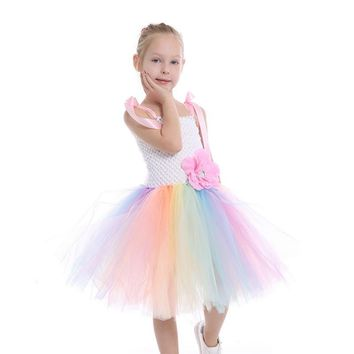 Pastel Rainbow Flower Girls Tutu Dress Junior Bridesmaid Girl Wedding Dress Baby Clothing Kids Summer Dress Dance Ball Gown
