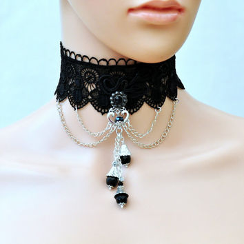 Black Lace Lolita Choker, Gothic Victorian lace collar, Gothic Lolita, Black Bridal Necklace, Gothic collar, Lace necklace, Lolita necklace