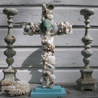 Wedding Altar Cross/Seashell Cross/Beach Wedding Cross/Reclaimed Wooden Cross/Aqua Wedding