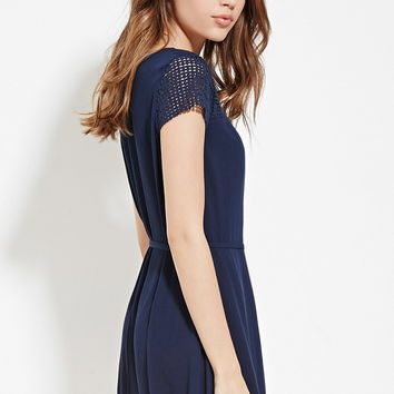 Belted Crochet-Panel Dress | Forever 21 - 2000168549