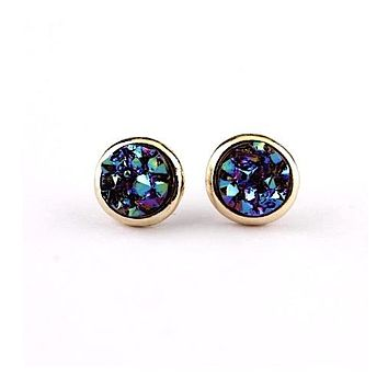 Round Druzy Stud Earrings (5 Color Options)