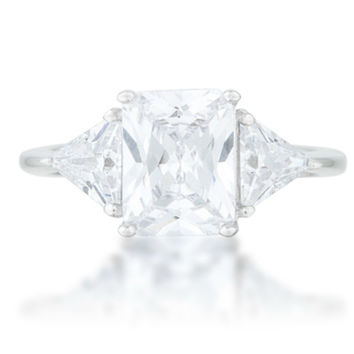 Gretchen Radiant Cut Three Stone Cocktail Ring  | 4.5ct | Cubic Zirconia | Sterling Silver