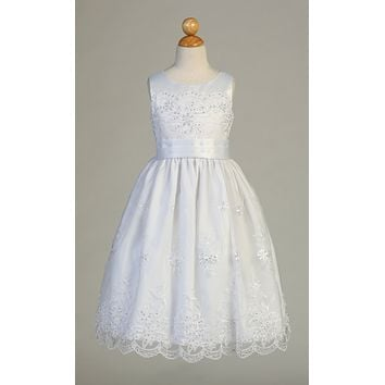 Embroidered Organza Communion Dress with Satin Trim - SP158