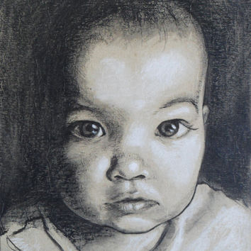 Custom portrait commission. Charcoal drawing of young, old or middle aged loved one.