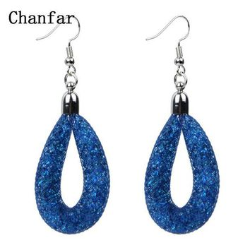 ac spbest Hot sale Drop Mesh earring with tiny stones filled dangle Tube Crystal Earring
