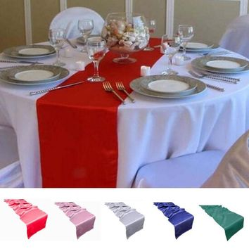 30x275cm Long Table Runner Royal Blue Red Pink Green Blue Silver Table Cloth Runners Wedding Favor Party Decorations Table Flag